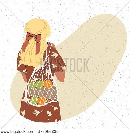 Vector Colorful Illustration Of Cute Young Girl With Eco Bag, Trendy Dressed On Abstract Backgrounds