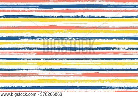 Ink Freehand Parallel Lines Vector Seamless Pattern. Hipster Linen Fabric Print Design. Retro Geomet