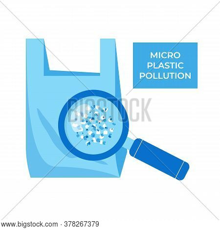 Micro Plastic Pollution Concept. Microplastic In Water. Vector Illustration.