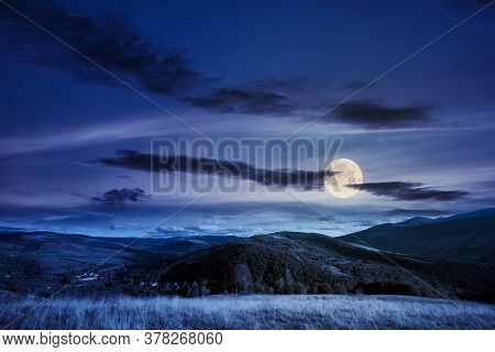 Beautiful Carpathian Countryside At Night. Wonderful Autumn Landscape In Mountains. Rural Scenery Wi