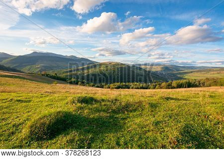 Beautiful Carpathian Countryside. Sunny Afternoon. Wonderful Autumn Landscape In Mountains. Rural Sc