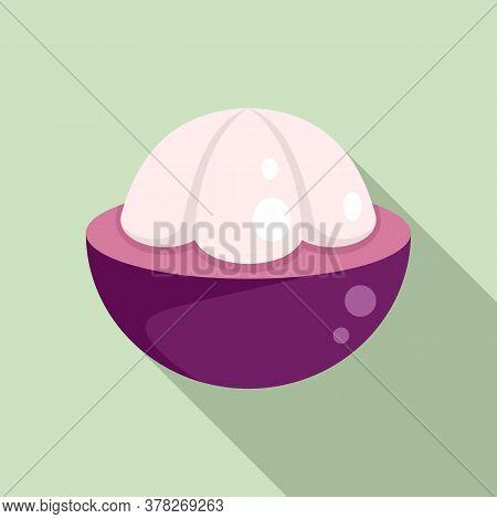Mangosteen Icon. Flat Illustration Of Mangosteen Vector Icon For Web Design