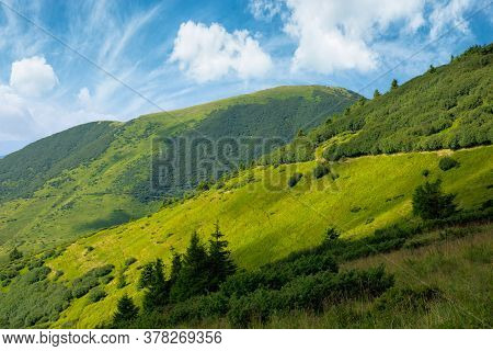 Path Through Grassy Alpine Mountain Meadow. Beautiful Landscape Of Carpathians. Clouds On The Sky