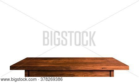 Wood Tabletop Isolated On White Background. Copy Space Used For Display Or Montage Your Products Des