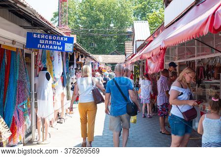 Anapa, Russia - 07.05.2020: Industrial And Food Public Market. Buyers Choose Products. Translation: