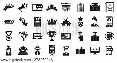 Reputation Trophy Icons Set. Simple Set Of Reputation Trophy Vector Icons For Web Design On White Ba