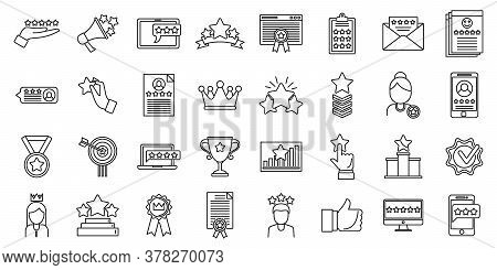 Reputation Experience Icons Set. Outline Set Of Reputation Experience Vector Icons For Web Design Is