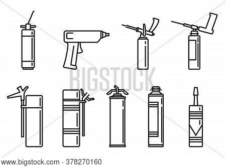 Home Polyurethane Foam Icons Set. Outline Set Of Home Polyurethane Foam Vector Icons For Web Design