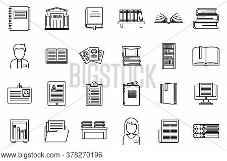 University Library Icons Set. Outline Set Of University Library Vector Icons For Web Design Isolated