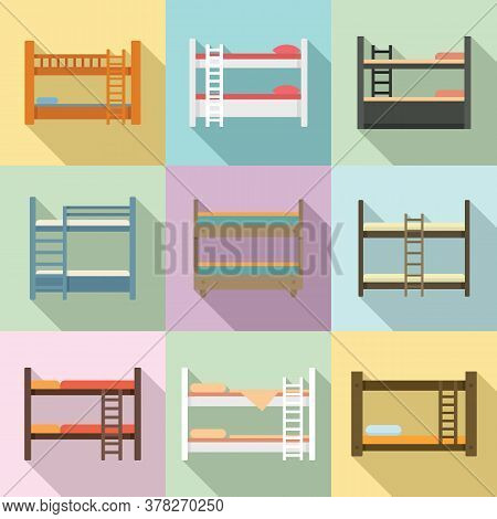 Bunk Bed Icons Set. Flat Set Of Bunk Bed Vector Icons For Web Design