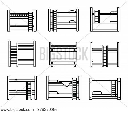 Family Bunk Bed Icons Set. Outline Set Of Family Bunk Bed Vector Icons For Web Design Isolated On Wh