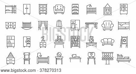 Childrens Room Icons Set. Outline Set Of Childrens Room Vector Icons For Web Design Isolated On Whit