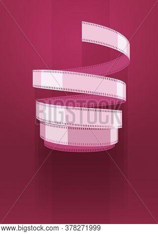 Concept sign cinematograph film tape. blue background. Illustration.
