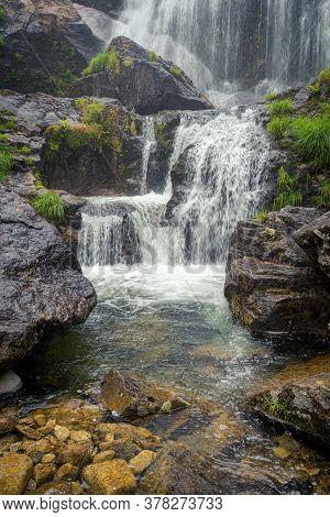 Detail Of Belelle Waterfall In Neda, Galicia, Spain