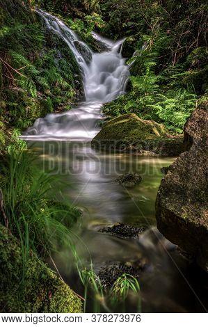 Small Waterfall In Peitieiros, Gondomar, Galicia, Spain