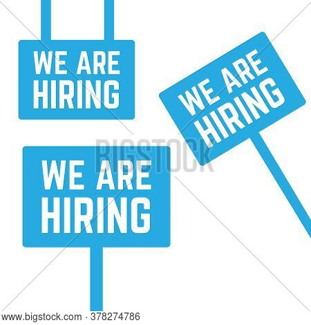 Information Banner With We Are Hiring Message. We Hiring Message Advertisement Illustration