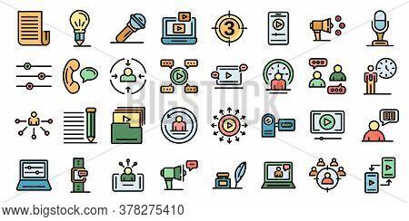 Storyteller Icons Set. Outline Set Of Storyteller Vector Icons Thin Line Color Flat On White
