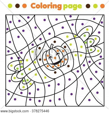 Halloween Candy Coloring Page. Color By Dots, Printable Activity. Children Educational Game For Hall