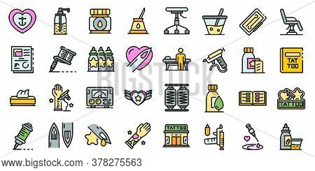 Tattoo Studio Icons Set. Outline Set Of Tattoo Studio Vector Icons Thin Line Color Flat On White