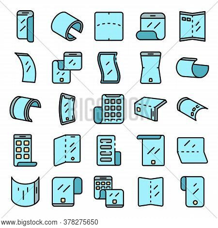 Flexible Screen Icons Set. Outline Set Of Flexible Screen Vector Icons Thin Line Color Flat On White
