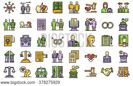 Divorce Icons Set. Outline Set Of Divorce Vector Icons Thin Line Color Flat On White