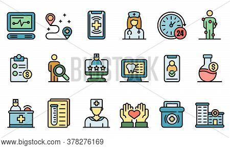 Private Clinic Icons Set. Outline Set Of Private Clinic Vector Icons Thin Line Color Flat On White
