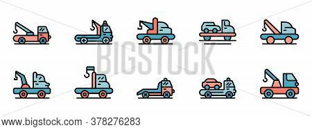 Tow Truck Icons Set. Outline Set Of Tow Truck Vector Icons Thin Line Color Flat On White