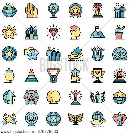 Excellence Icons Set. Outline Set Of Excellence Vector Icons Thin Line Color Flat On White