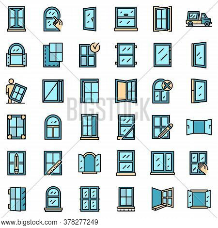 Window Installation Icons Set. Outline Set Of Window Installation Vector Icons Thin Line Color Flat