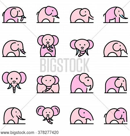 Elephant Icons Set. Outline Set Of Elephant Vector Icons Thin Line Color Flat On White