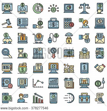 Online Loan Icons Set. Outline Set Of Online Loan Vector Icons Thin Line Color Flat On White