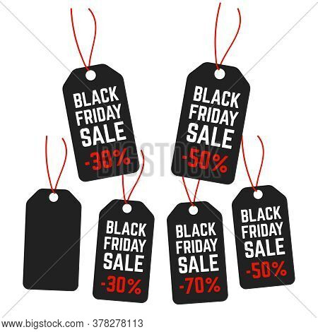 Black Friday Shopping Vector. Sale Price Tags. Sale Label And Special Offer Price Vector Sign
