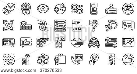 Product Review Icons Set. Outline Set Of Product Review Vector Icons For Web Design Isolated On Whit