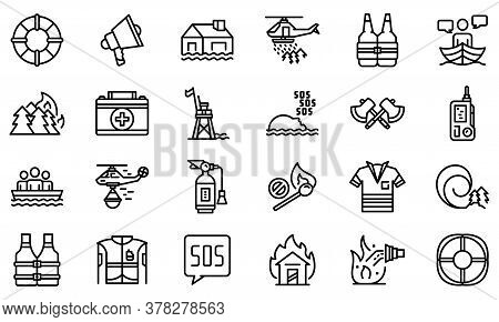 Rescuer Icons Set. Outline Set Of Rescuer Vector Icons For Web Design Isolated On White Background