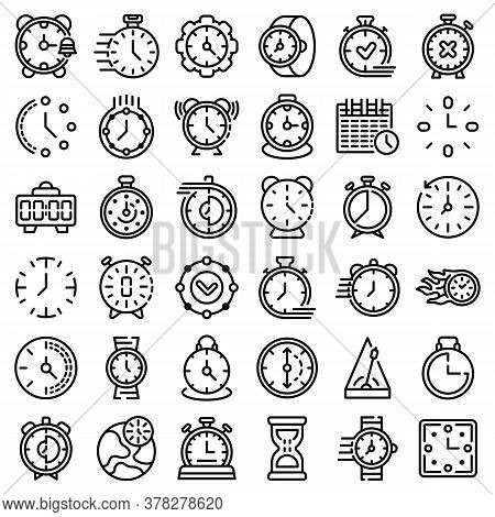 Stopwatch Icons Set. Outline Set Of Stopwatch Vector Icons For Web Design Isolated On White Backgrou