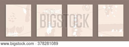 A Set Of Handmade Templates For Design. Dirty Ink Stains On A Beige Background. Unusual Art. Abstrac