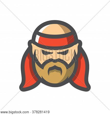 Old Pirate With Red Bandage Vector Icon Cartoon Illustration.