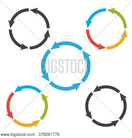 Circle Arrows Steps. Processes Vector Set For Business Infographic