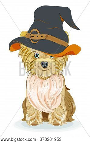 Lovely Vector Puppy, Dog In Halloween Hat. Picture In Hand Drawing Cartoon Style, For T-shirt Wear F