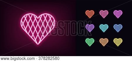 Neon Heart Icon. Glowing Neon Heart Sign With Rhomb Texture, Amour Shape In Vivid Colors. Romantic S