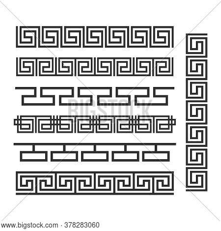Ancient Greek Ornament. Vector Seamless Horizontal Borders. Ancient Seamless Greek Decoration Border