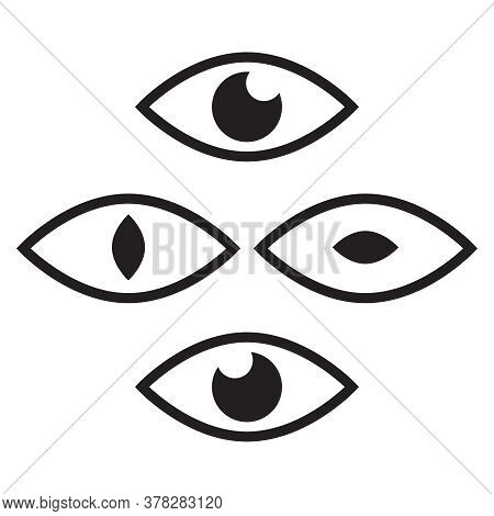 Human Eye And View Symbols. Icon Oversight, Supervision Logo