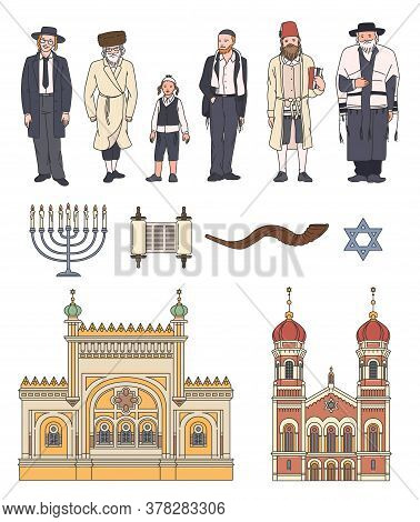 Set Of Icons On Jewish And Judaism Topic Sketch Vector Illustration Isolated.