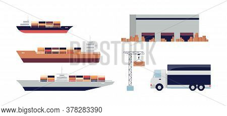 Cargo Ship And Other Import Transport Set - Industrial Ships, Warehouse, Crane