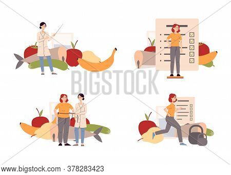 Nutritionist And Dietitian Set - Cartoon Woman Creating Food Plan For Client