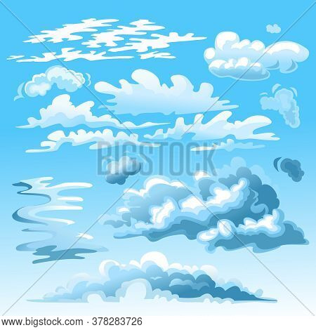 Cartoon Blue And White Clouds On Sky Set Flat Design Style Cloudy Weather Concept. Vector Illustrati