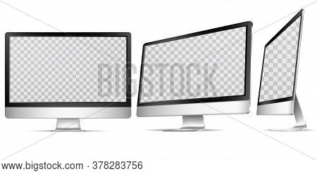 Realistic Detailed 3d Blank Computer Display Empty Template Mockup Set For Ad. Vector Illustration O