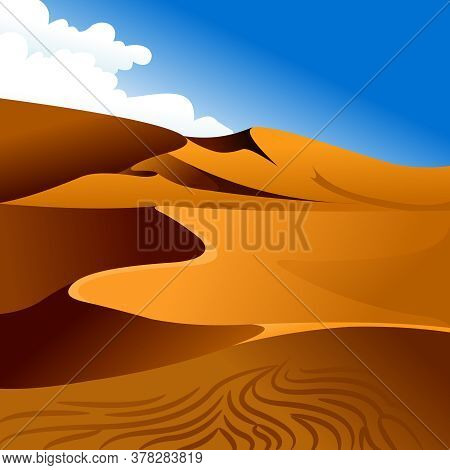 Cartoon Color Desert And Blue Sky Landscape Scene Concept Flat Design Style For Travel And Tourism A