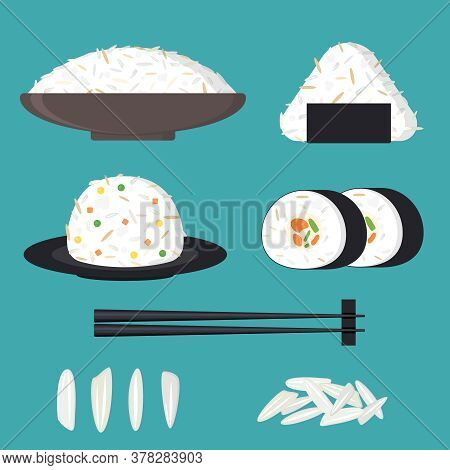 Cartoon Color Japanese Cuisine With Rice Set Flat Design Style Include Of Chopsticks, Roll And Nigir