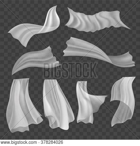 Realistic Detailed 3d Fluttering White Cloths Set On A Transparent Background. Vector Illustration O